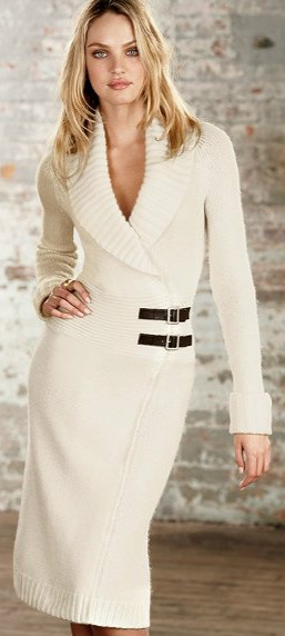 Buckle-Wrap Sweaterdress. Perfect wedding dress if one is getting married at the court house or just a small wedding. A netted face veil or small hat would be adorable!