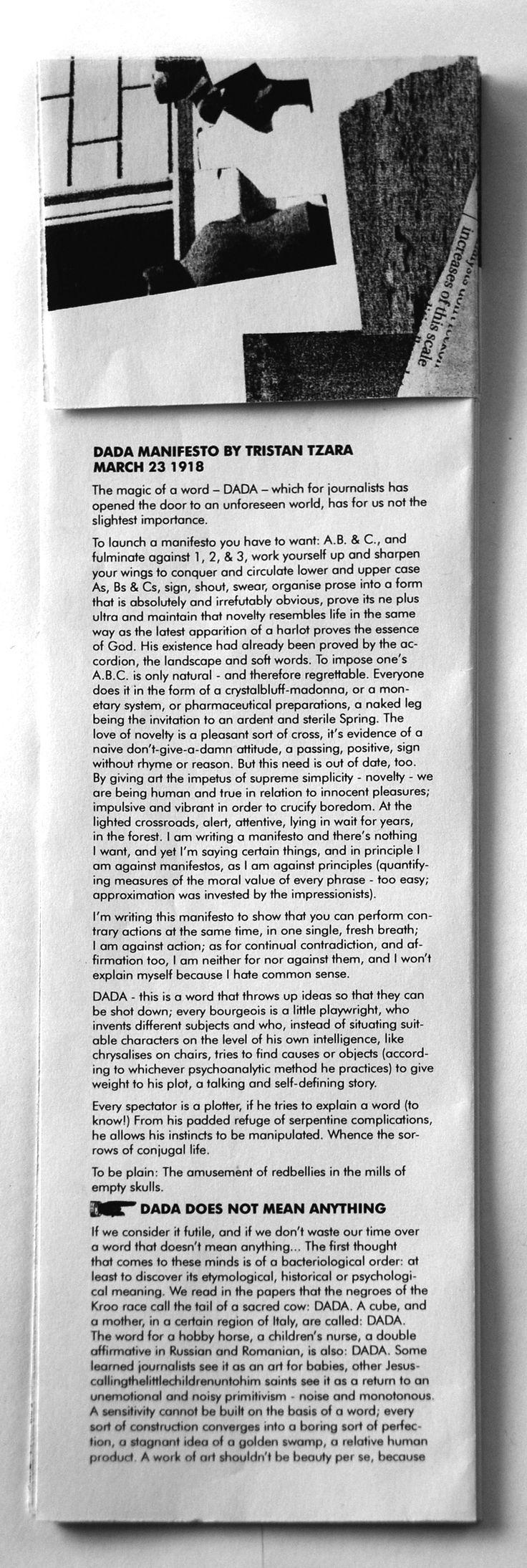 Dada Manifesto - Caitlin O'Neill.