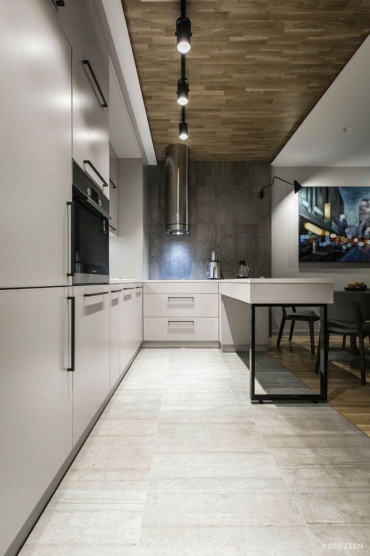 деревянный паркет в квартире фото, серые стены в квартире фото, YoDezeen…