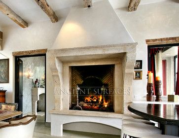 Antique Stone Fireplaces mediterranean fireplaces