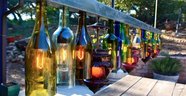 Charming Outdoor Chandelier Made from Wine Bottles