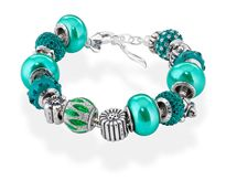 Amore & Baci emerald beaded bracelet - 925 silver with Murano glass, pearls, silver and Swarovski beads #emerald #coloroftheyear