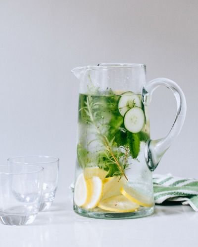Cucumber, herb, and lemon water: http://www.stylemepretty.com/living/2015/05/12/18-essential-entertaining-pitcher-drinks/