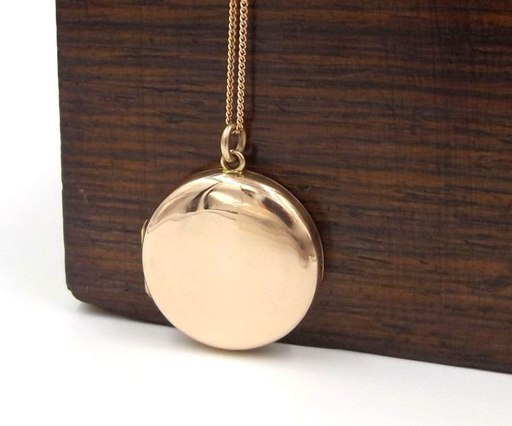 Victorian Rose Gold Locket | 9ct Gold Back And Front Locket Necklace | 9k Plain Round Antique Photo Locket Pendant On A Chain by DaisysCabinet on Etsy