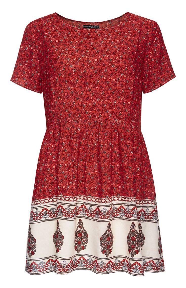 Primark - Robe tunique rouge avec bordure à imprimé