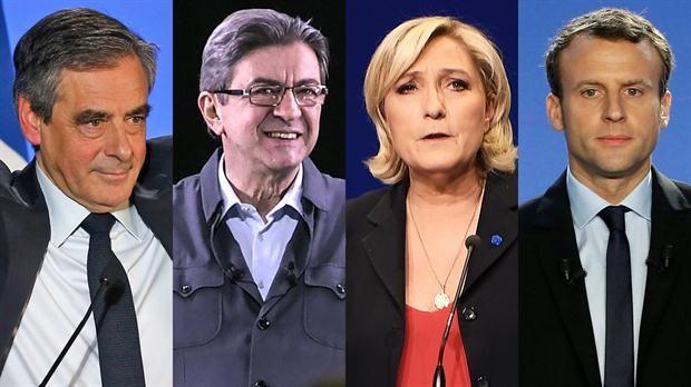 Fillón, ,Mélenchon, Le pen, y Macron candidatos a presidente de Francia