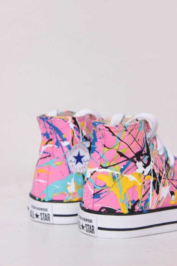 Toddler Pink High Top Splatter Painted Converse by theplayhaus, Size 6, Pink Punk Colors, $70