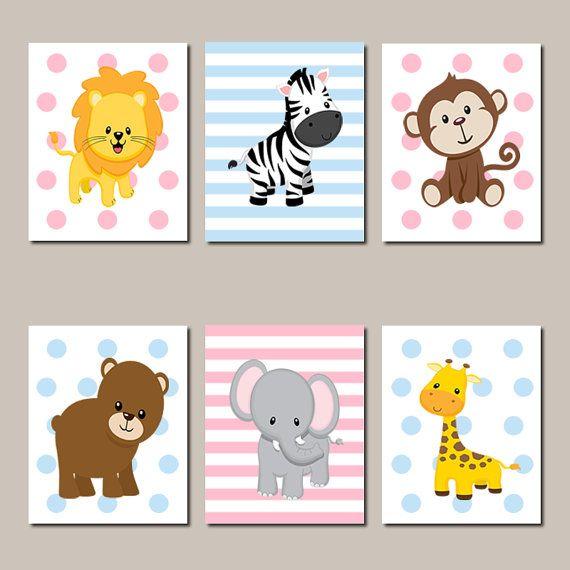 JUNGLE Nursery Wall Art Jungle Animals Art by LovelyFaceDesigns