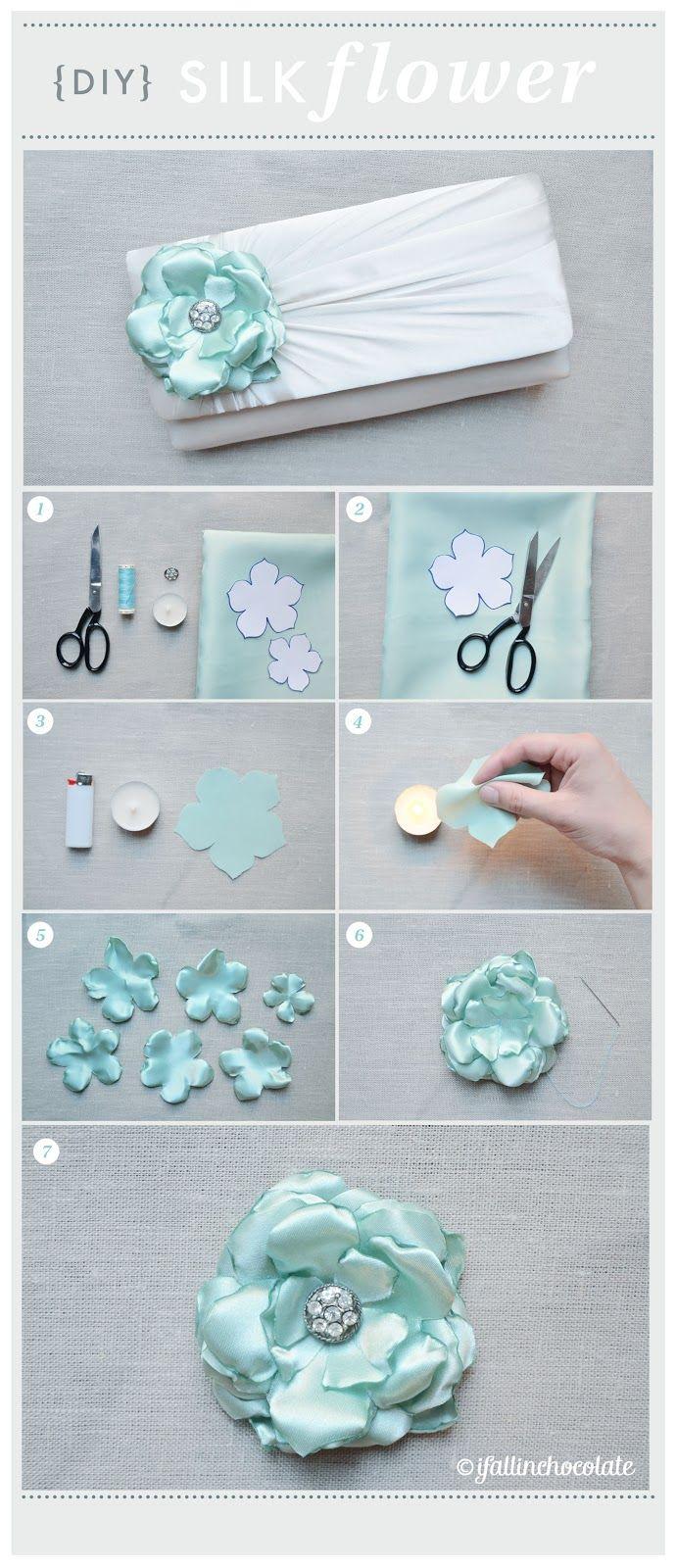DIY SILK FLOWER Instructions in Italian, but the photos are easy to understand./ DIY Flor de seda el texto está en italiano, pero las fotos son muy buenas y alcanzan para guiarse.