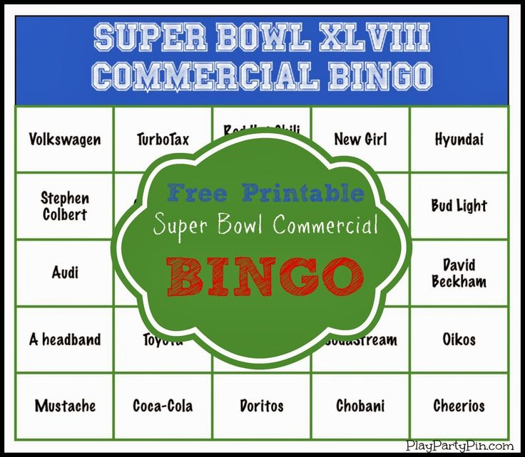 Super Bowl Party Game and Prize Ideas: Super Bowl Commercial Bingo