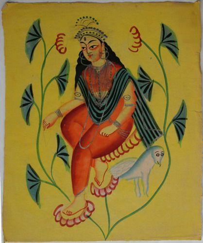 Kalighat collection: Lakshmi. Watercolour on paper. Circa 3rd quarter 19th century. 25.5 x 21.6cm
