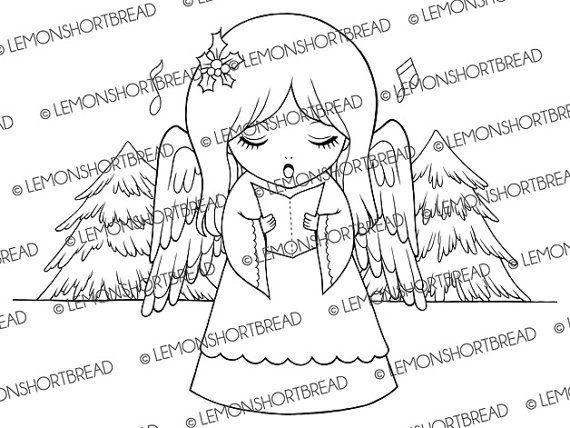 Digital Stamp Christmas Carol Angel, Digi Image, Cute Xmas Graphic, Carolling Child, Snow Forest, Clip Art, Scrapbooking, Instant download