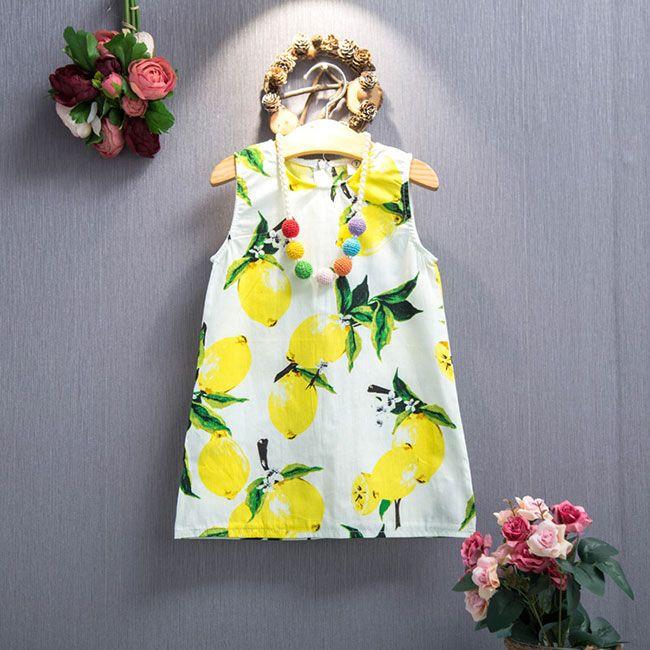Хлопковые платья для девочек с рисунком лимонов #ПЛАТЬЕ #ДЕВОЧКАМ #РЕБЕНОК #ЛИМОН