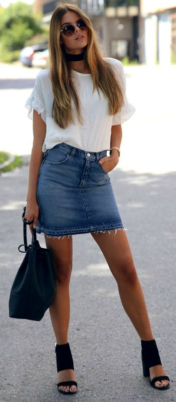 Josefin Ekström + super cool + frayed denim skirt + white tee + heels + easy but edgy everyday style + some shades + make the look complete!  Top: Loavies, Skirt: Monki, Bag: Gina Tricot.