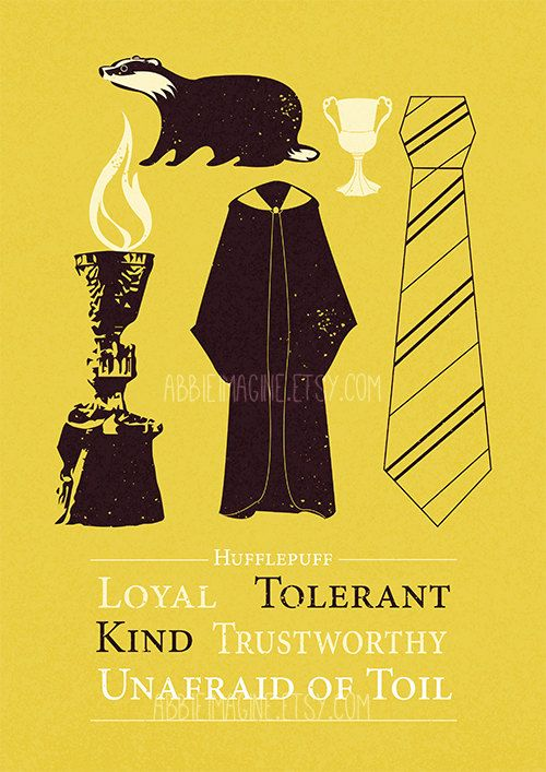Hufflepuff Minimalist Poster Harry Potter Print by AbbieImagine