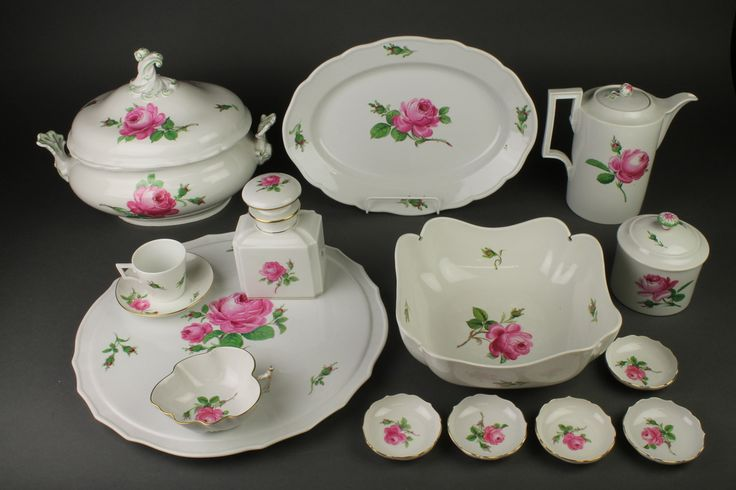 Lot 148, An extensive 20th Century Meissen rose decorated coffee and dinner service, sold for £580.00