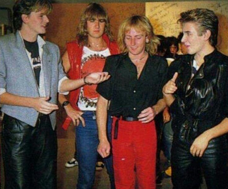 John & Roger Taylor (Duran) with Joe Elliot & Phil Collen (Def Leppard)