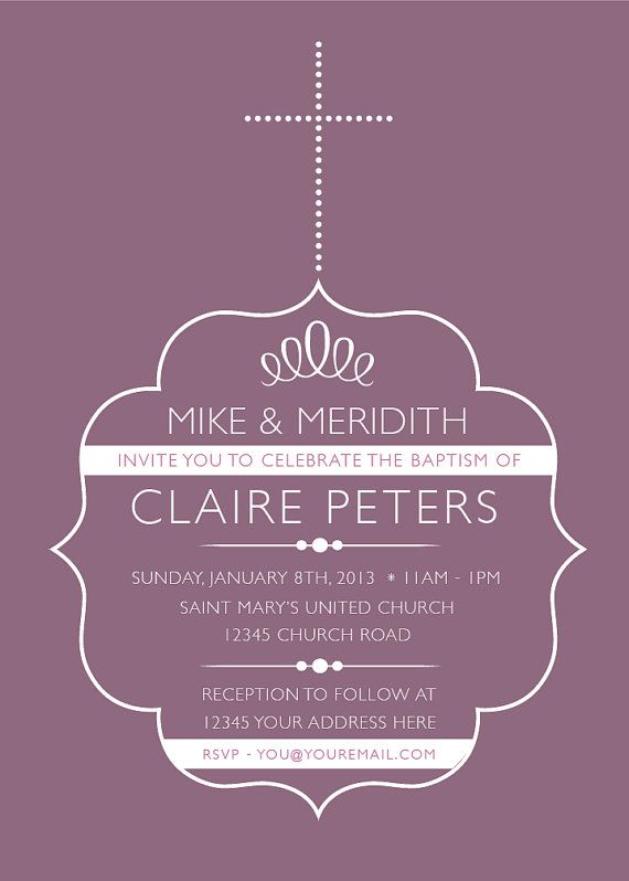 Printable Personalized Baby Baptism Invitation by HuntersPlace