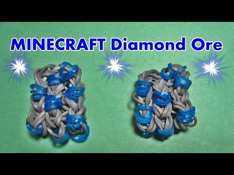 Rainbow Loom MINECRAFT Diamond Ore Charm (by my 9 year old Son) Tutorial / Design