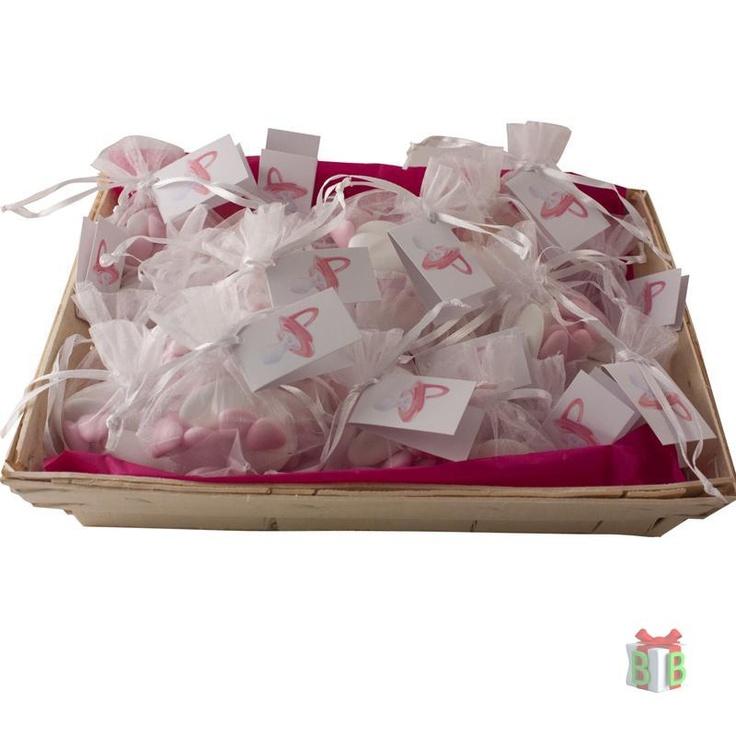Mandje organza zakjes roze