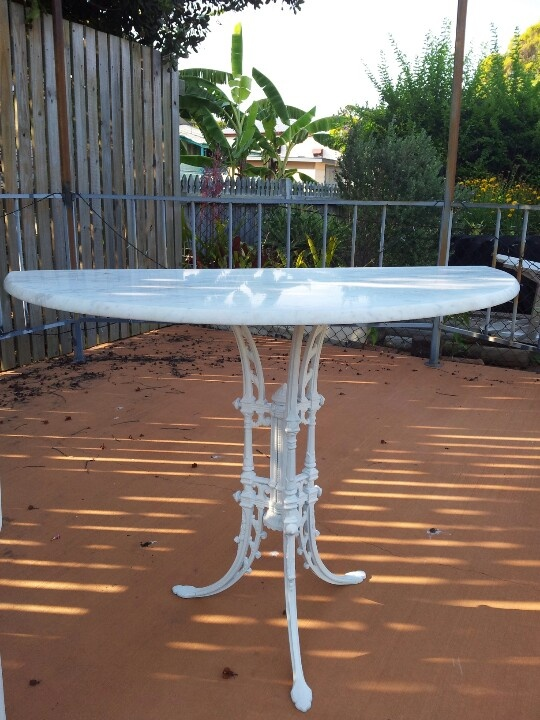 Marble half stand with cast iron three leg base
