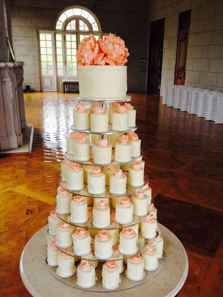 www.kyliecakes.net Wedding cake tower of individual miniature cakes with handmade sugar peonies by Kylie Ballard of kyliecakes