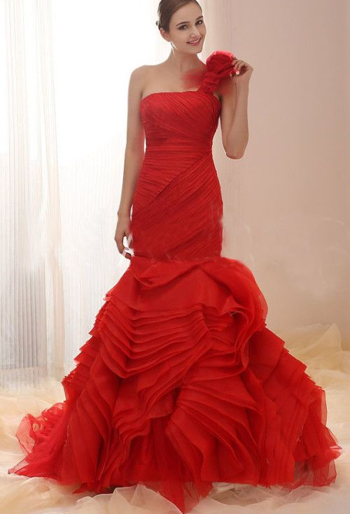 Luxurious Red Wedding Gowns Bridal