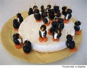 Olive, Cream Cheese and Carrot Penguins on a Brie Iceberg - Make ...