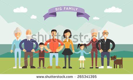 Big Happy Family. Parents with Children. Father, mother, children, grandpa, grandma
