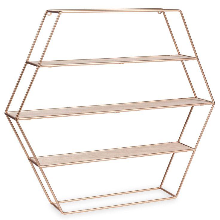 Étagère hexagonale en métal H 45 cm COPPER