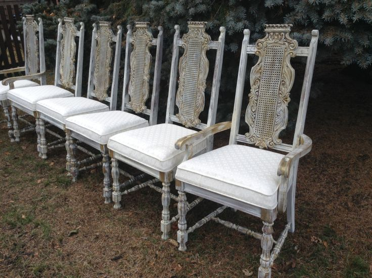 Six Vintage Rustic White Dining Room Chairs