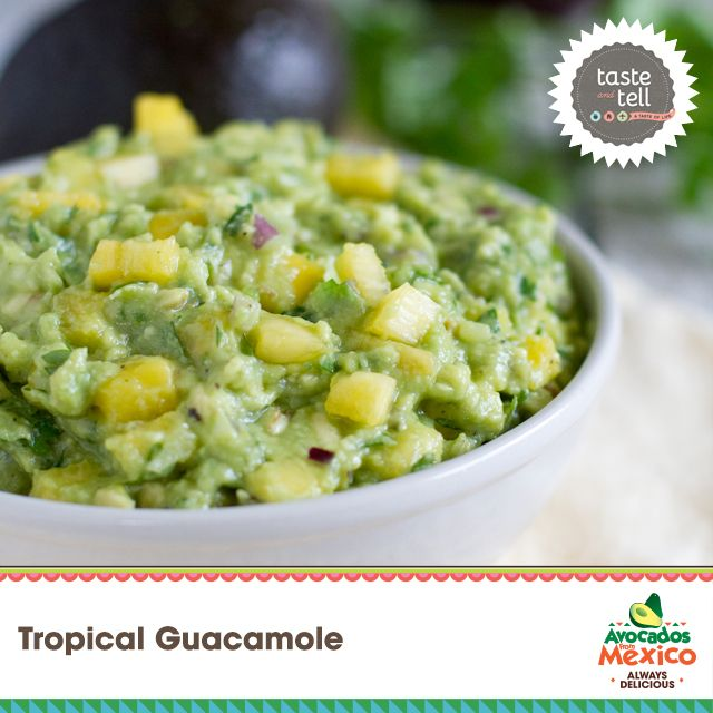 Tropical Guacamole by Deborah at Taste and Tell Blog - vote for your favorite! #guacbowl