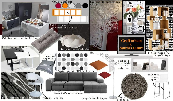 Planche de style pi ce de vie contemporain chic wellk for Decoration contemporaine interieur