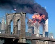 """The South Tower of the World Trade Center explodes in flames after being hit by the hijacked airliner now universally known as """"the second plane,"""" United Airlines Flight 175, September 11, 2001."""