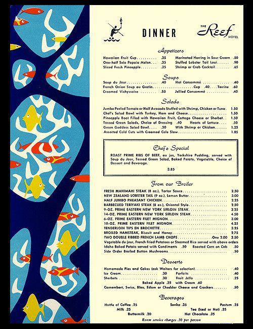 1957 Dinner Menu From Torch Room Reef Hotel Waikiki Hawaii