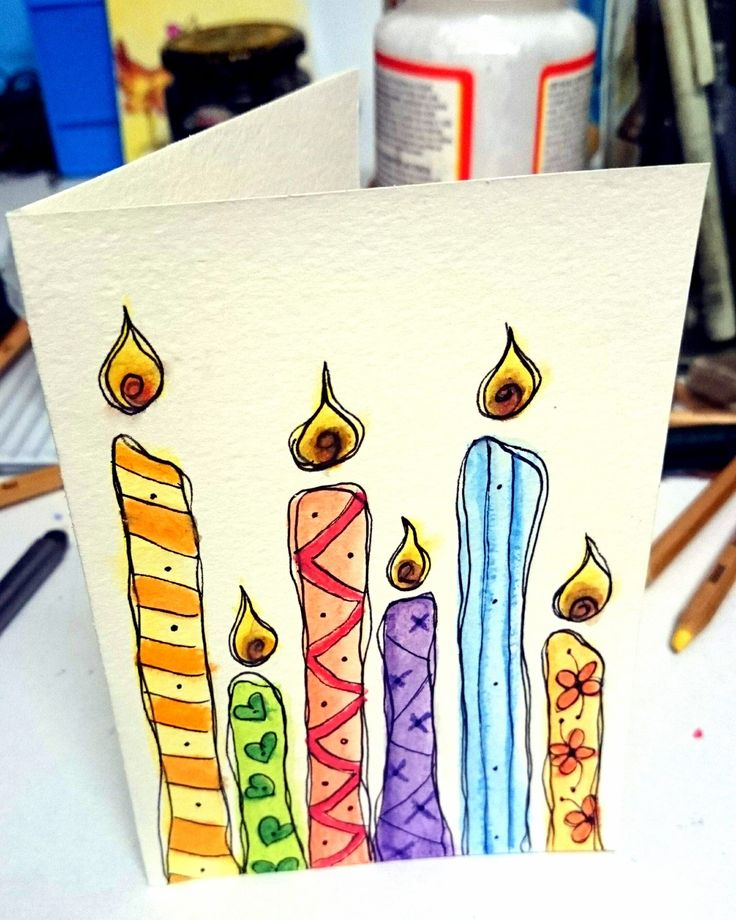 Candle watercolour handmade card