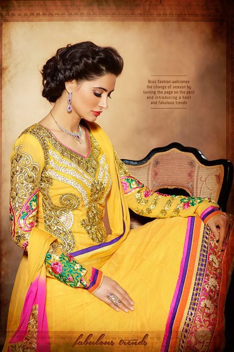 Divine Nargis Fakhri Yellow Georgette Embroidered Floor Touch Anarkali Suit
