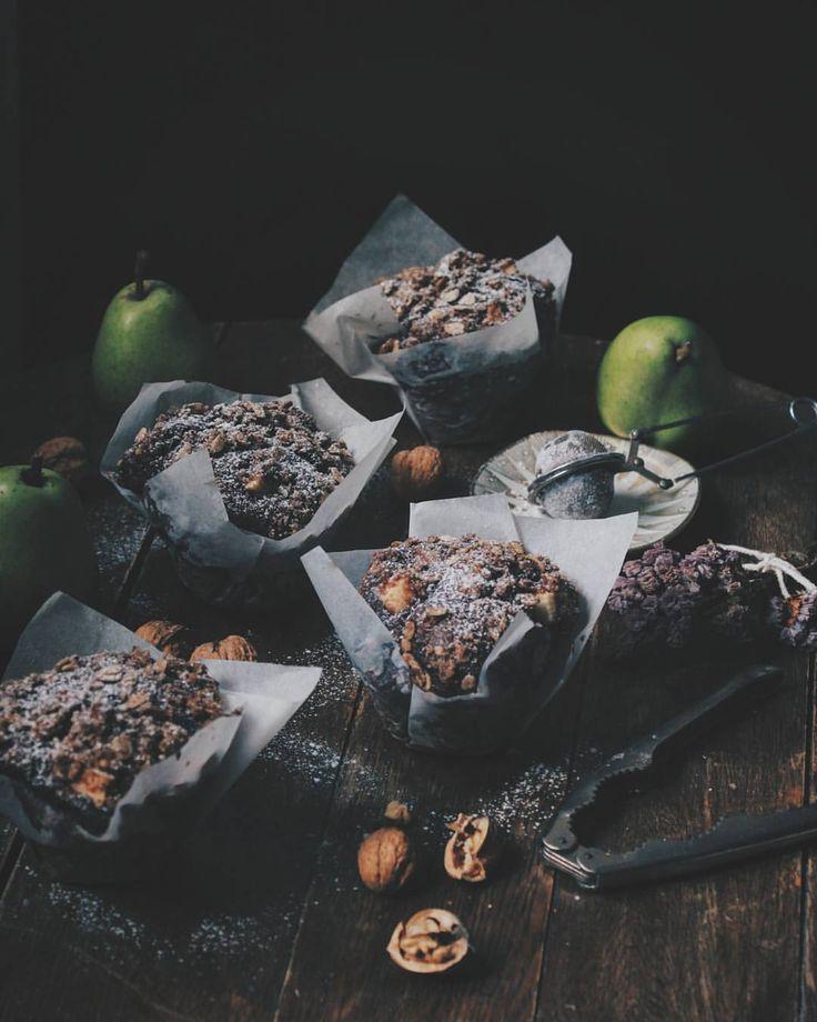 Pear & chocolate muffins. #Pear #chocolate #muffins #foodstyling #food #photography
