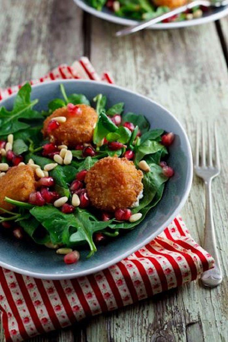 Fried Goat Cheese Pomegranate Salad | Cheez Pleez | Pinterest