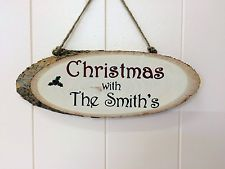 Christmas family personalised natural wooden log sign christmas gift