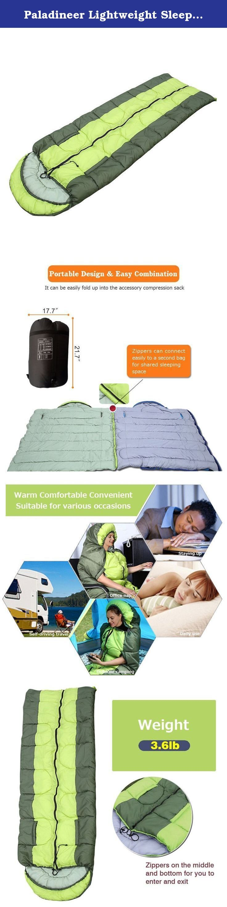 Paladineer Lightweight Sleeping Bag For Travel Outdoor Camping Hiking Green. Paladineer sleeping bag is ergonomic designed, high quality and comfortable. Excellent quality comes from every perfect detail! Two patterns are provided to meet different needs, but they have some advantages in common. Product Specification: *Colors: Blue, green *Weight: 3.6lb *Package included: 1 x sleeping bag, 1x compression sack Material Configuration: *Super soft and breathable material provides you a...