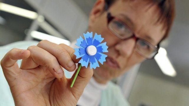 10/11/14. AUVERGNE. Longtemps fabriqué en Chine, le Bleuet de France, qui fleurira les boutonnières à l'occasion des commémorations du 11 Novembre, est désormais en partie confectionné par des travailleurs handicapés, à Creuzier-le-Neuf dans l'Allier.