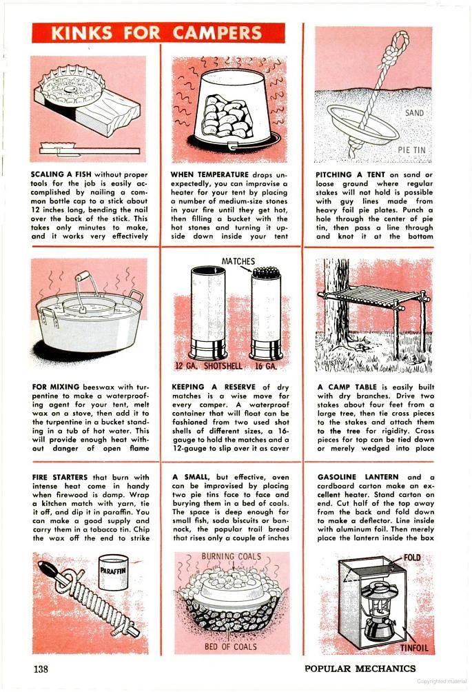 Handy tips for recycling items to use in camping. Wrap you stick matches with yarn and dip in paraffin wax. Make a tent heater out of coals and buckets. Pie tin tent tie downs etc Popular Mechanics May 1965