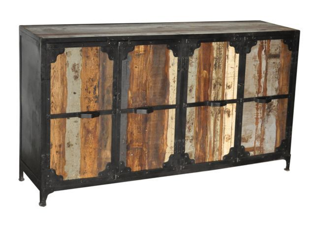 Industrial Style Steel Teak Buffet Sideboard With 4 Doors Nectar