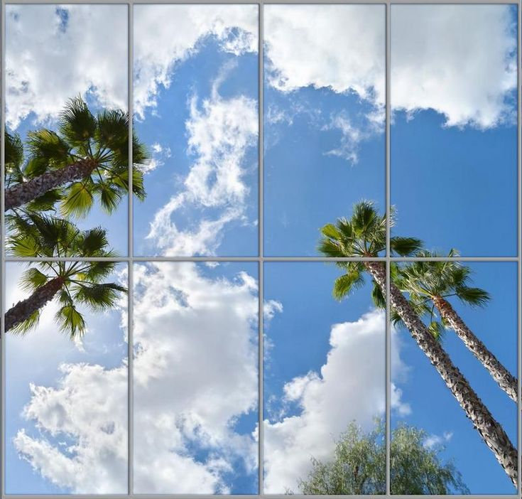 This Sky Mural ceiling arrangementcan bedesigned to fit your exact ceiling layout, and produce a dramatic lighting effect. Bring the beauty of the clouds, palm trees, and sunny sky into your own room. You may order this sky mural to be sized and printed onany number of acrylic panels, to produce a very large continuous …
