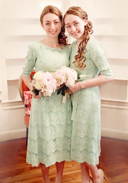 """""""A Night in Paris"""": Modest and Flattering Dainty Jewell's Modest Bridesmaid dresses from www.daintyjewells.com"""