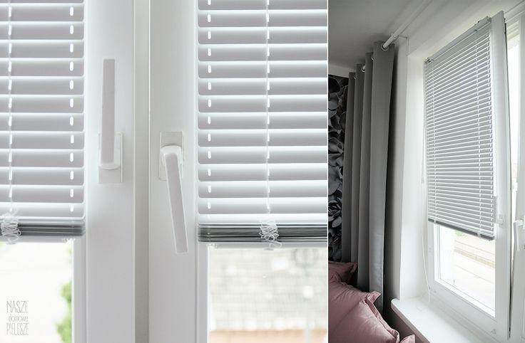 Metamorfoza pokoju nastolatki.  Na oknach: Białe matowe żaluzje aluminiowe  i szare zasłony blackout