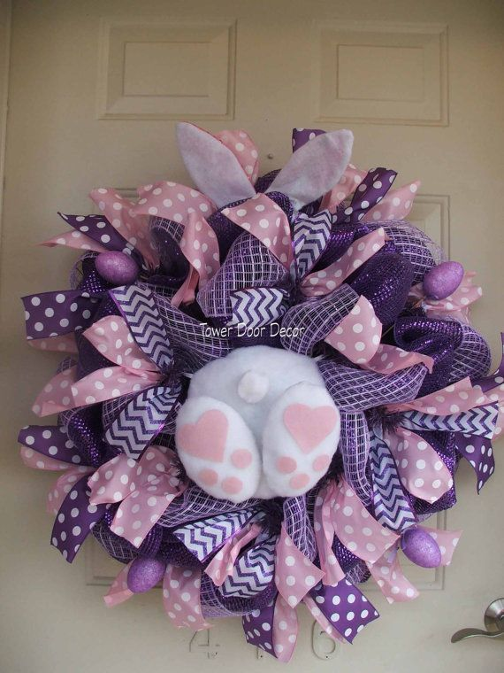 Adorable Bunny Booty, Bunny, Rabbit, Easter Bunny, Easter Mesh Wreath by TowerDoorDecor, $75.00