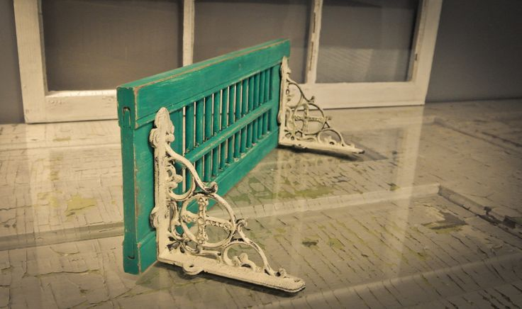 """Vintage Shutter-Shelf Repurposed Peacock Blue 19"""" Rustic Home Décor Shabby Chic Hand Painted by pinkpearlswhitelace on Etsy https://www.etsy.com/listing/165920399/vintage-shutter-shelf-repurposed-peacock"""