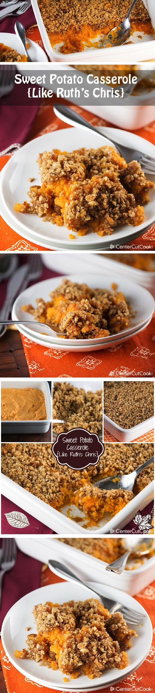 SWEET POTATO CASSEROLE like RUTH'S Chris with a pecan crust! Perfect for Thanksgiving and a delicious alternative to the version with marshmallows!